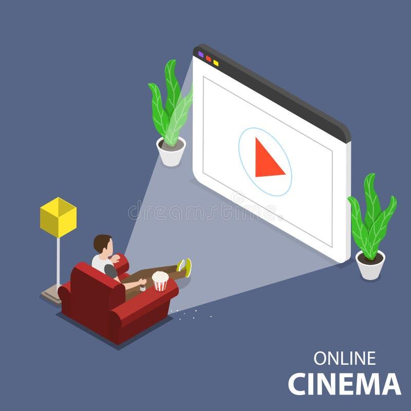 Концепция вектора онлайн домашнего кинотеатра плоская равновеликая иллюстрация вектора