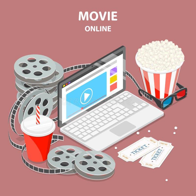Концепция вектора онлайн кино плоская равновеликая иллюстрация вектора