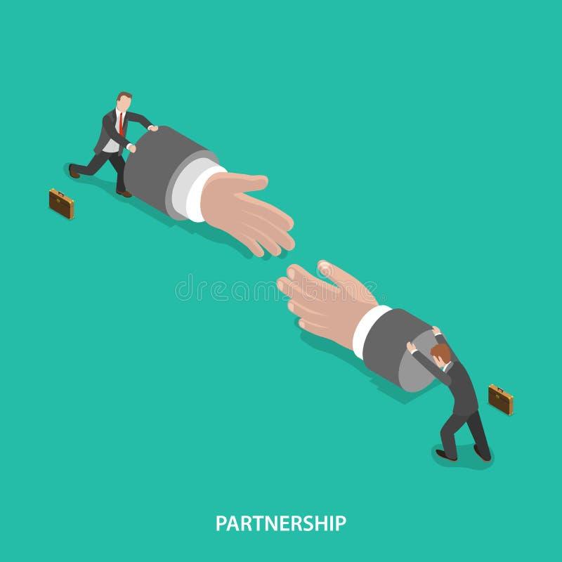 Концепция вектора партнерства равновеликая плоская иллюстрация вектора