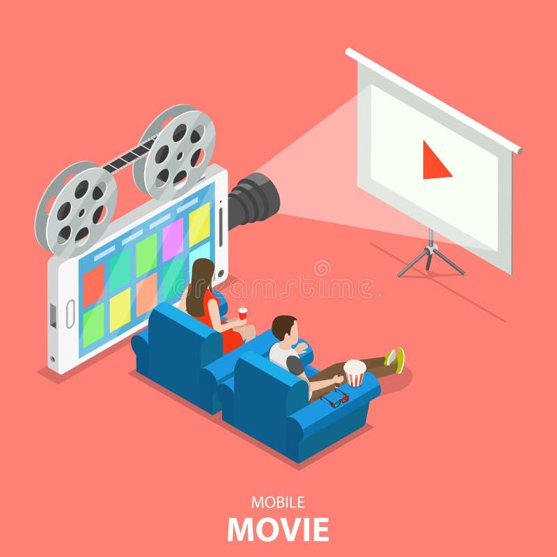 Концепция вектора передвижного кино плоская равновеликая иллюстрация штока