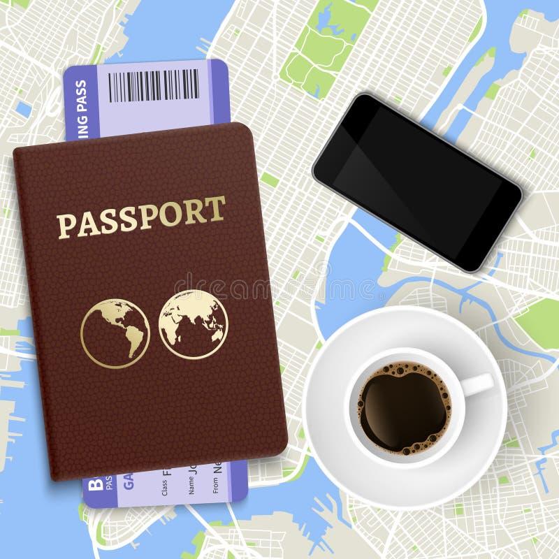 Концепция вектора перемещения Кофе, карта и паспорт взгляда сверху с билетами иллюстрация вектора