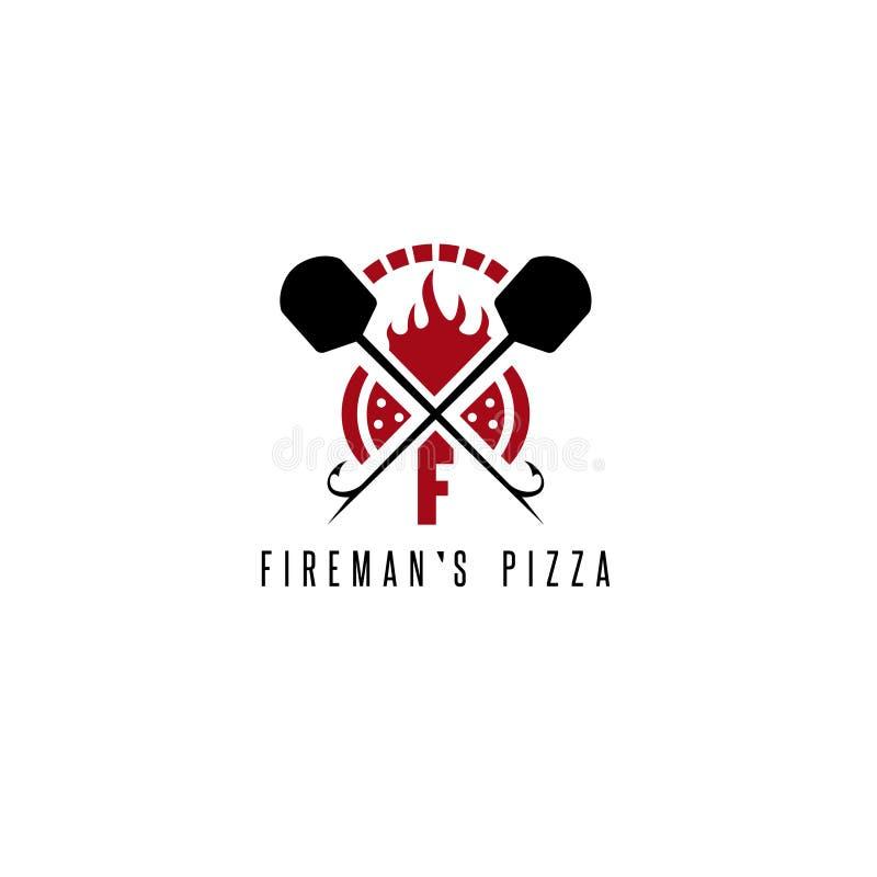 Концепция вектора пиццы ` s пожарного с печью иллюстрация вектора