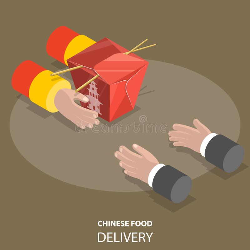 Концепция вектора поставки китайской еды быстрая плоско равновеликая низкая поли иллюстрация вектора