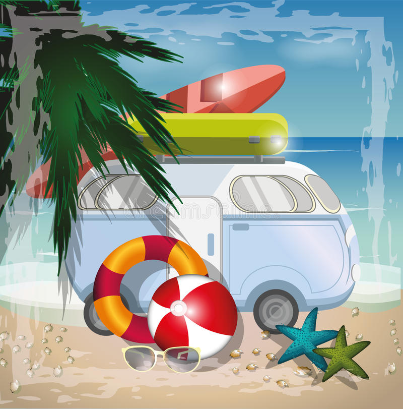 Концепция вектора пляжа лета с ретро шиной на пляже бесплатная иллюстрация
