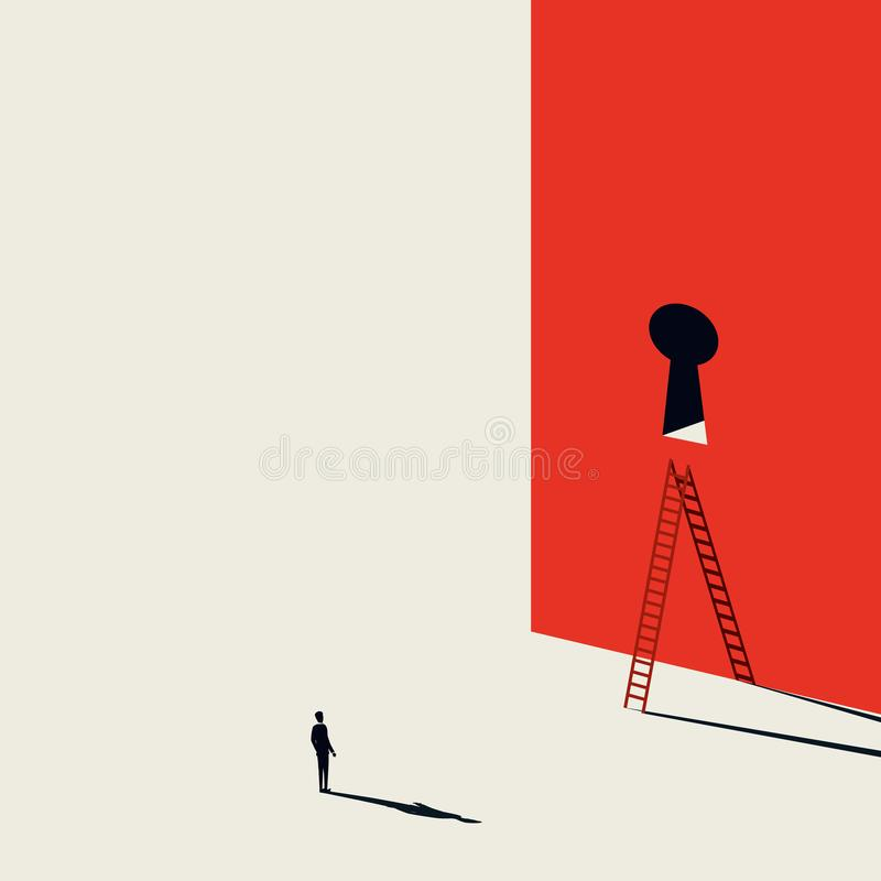 Концепция вектора решения дела творческая с дверью бизнесмена и keyhole с лестницей Минималистский стиль искусства Символ  бесплатная иллюстрация