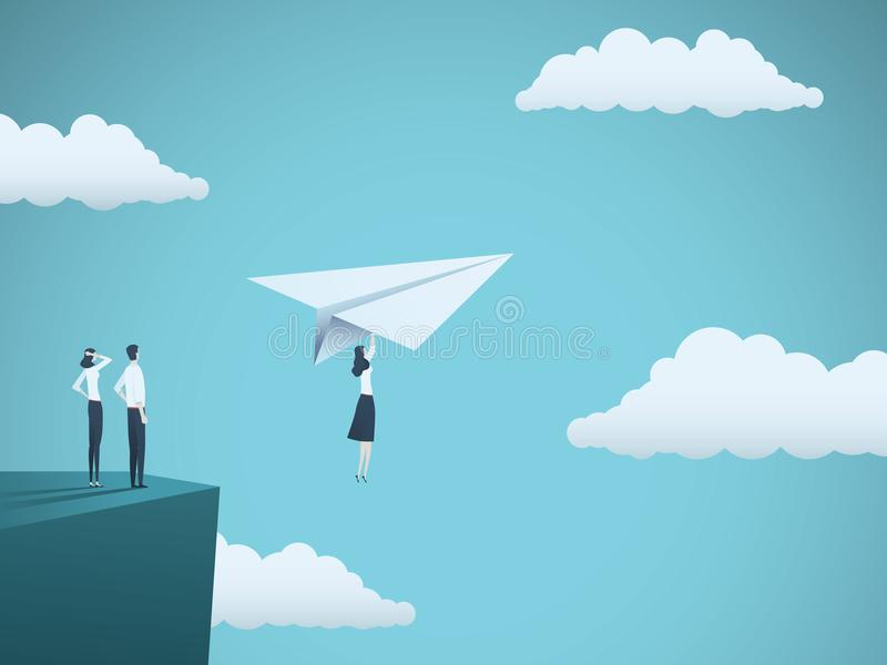Концепция вектора руководителя бизнес-леди Летание коммерсантки с самолетом бумаги с скалы Символ прочности, творческих способнос иллюстрация вектора