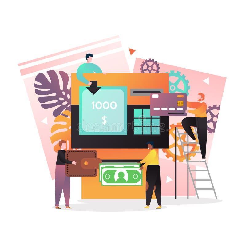 Концепция вектора сделок ATM для знамени сети, страницы вебсайта иллюстрация штока