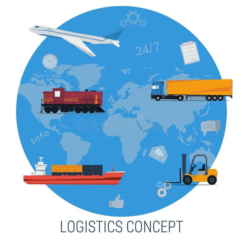 Концепция вектора транспорта снабжения глобального иллюстрация штока