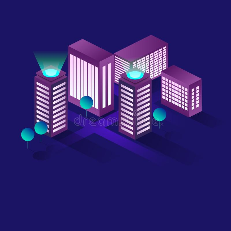 Концепция вектора умного города или умного здания равновеликая Автоматизация здания с иллюстрацией сети компьютера управление иллюстрация штока