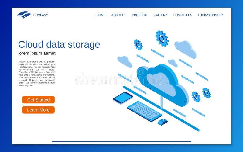 Концепция вектора 3d хранения данных облака плоская равновеликая бесплатная иллюстрация