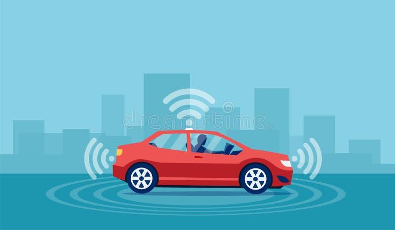 Концепция вектора driverless автомобиля с человеком сидя внутри чтения книга иллюстрация вектора