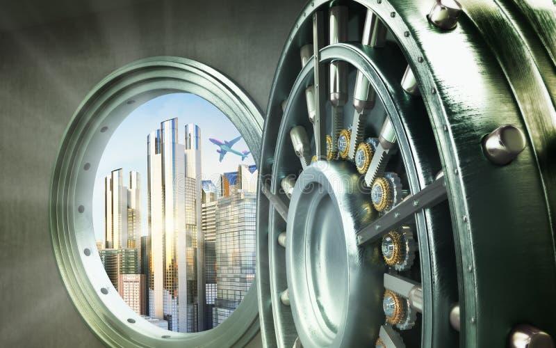 Концепция двери безопасного города большой безопасной с resolut слитков города высоким стоковые изображения rf