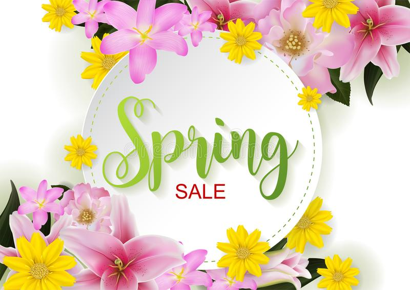 Концепция весны и продажи лета иллюстрация вектора
