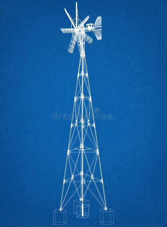 Концепция ветрянки - светокопия архитектора стоковая фотография rf