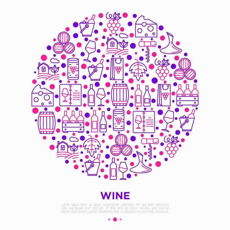 Концепция вина в круге с тонкой линией значками: штопор, бокал, пробочка, виноградины, бочонок, список, графинчик, сыр, виноградн иллюстрация штока