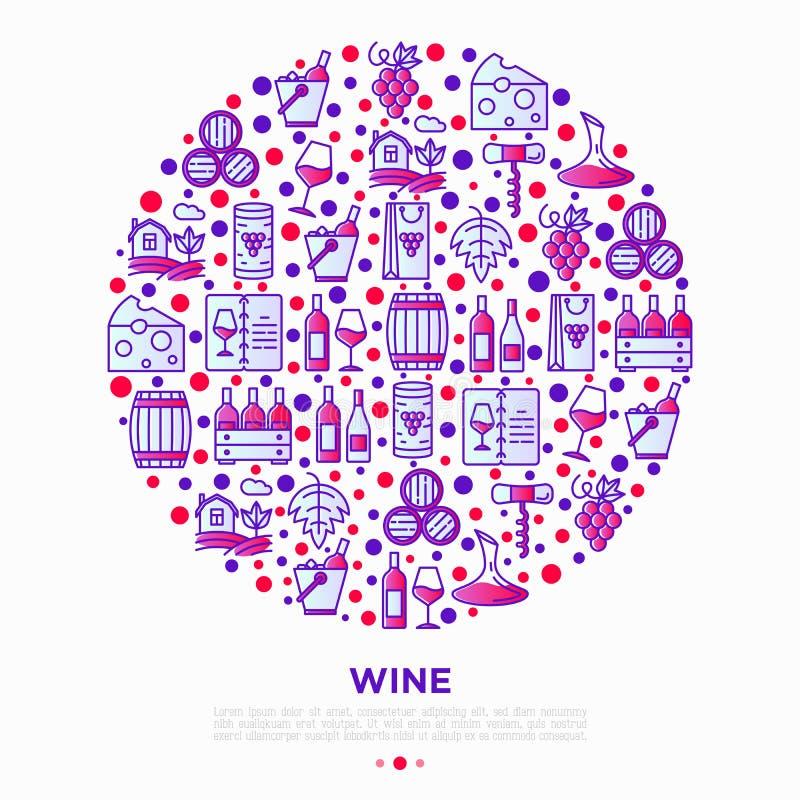Концепция вина в круге с тонкой линией значками: штопор, бокал, пробочка, виноградины, бочонок, список, графинчик, сыр, виноградн иллюстрация вектора