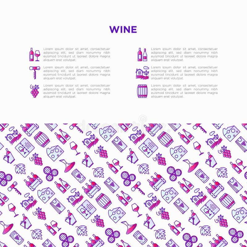 Концепция вина с тонкой линией значками: штопор, бокал, пробочка, виноградины, бочонок, список, графинчик, сыр, виноградник, ведр бесплатная иллюстрация
