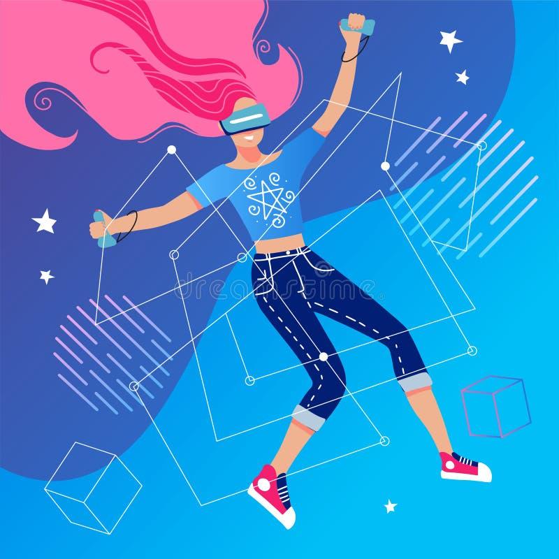 концепция виртуальной реальности с девушкой, взаимодействующей с воображаемой вселенной через очки vr Женщина в виртуальной реаль бесплатная иллюстрация