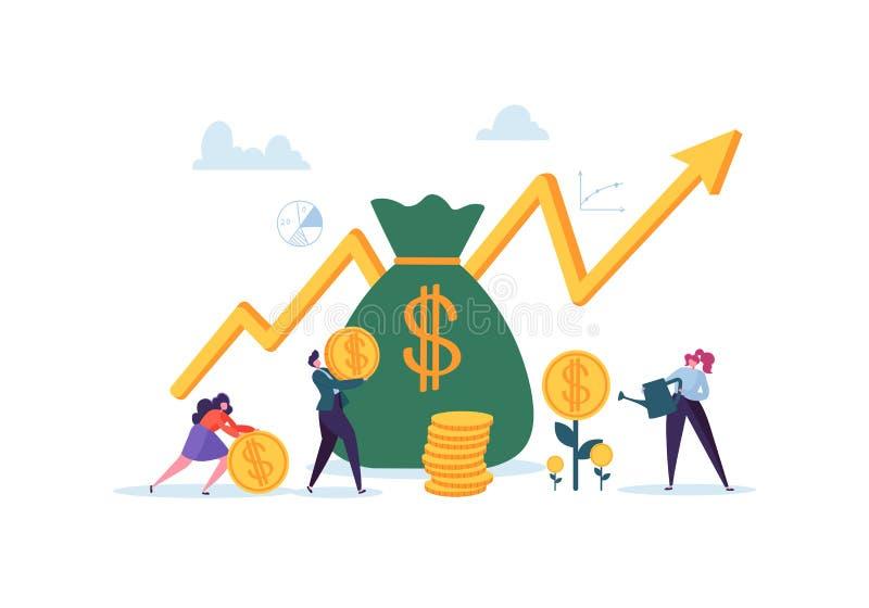 Концепция вклада финансовая Бизнесмены увеличивая столицу и выгоды Богатство и сбережения с деньгами характеров иллюстрация штока