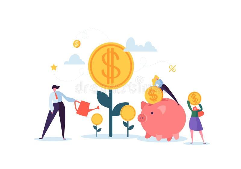 Концепция вклада финансовая Бизнесмены увеличивая столицу и выгоды Богатство и сбережения с деньгами характеров бесплатная иллюстрация