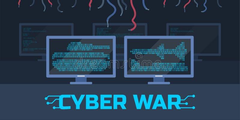 Концепция войны кибер иллюстрация вектора