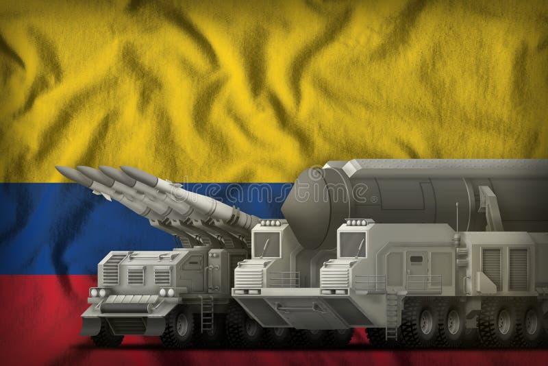 Концепция войск ракеты Колумбии на предпосылке национального флага : иллюстрация штока