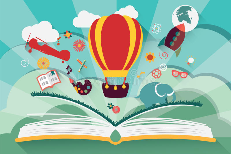 Концепция воображения - открытая книга с воздушным шаром иллюстрация штока
