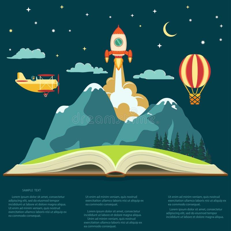 Концепция воображения, открытая книга с горой, ракета летая, воздушный шар и самолет иллюстрация штока