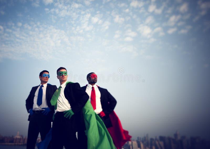 Концепция воодушевленности Нью-Йорка бизнесменов супергероя стоковая фотография rf