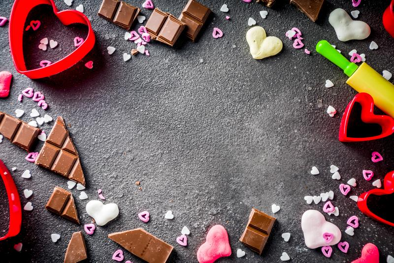 Концепция выпечки дня валентинки стоковое фото