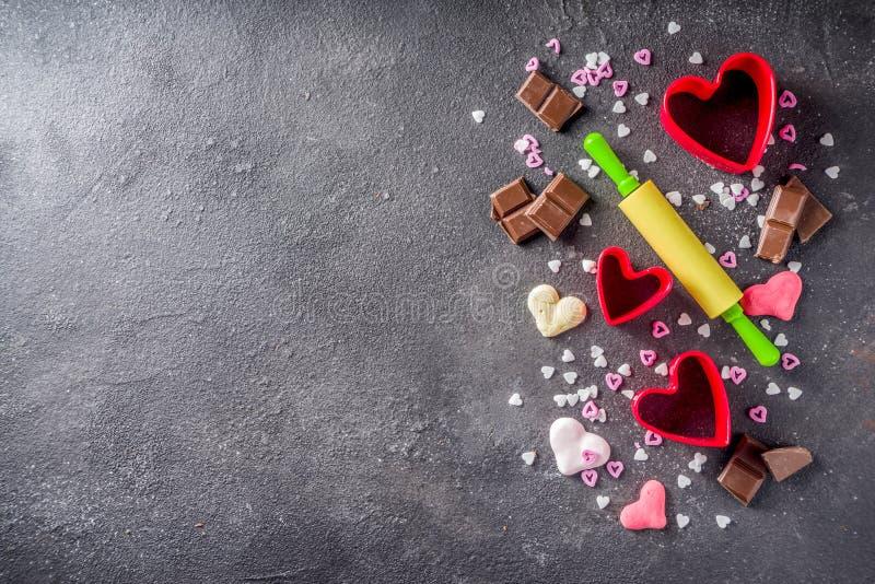 Концепция выпечки дня валентинки стоковая фотография