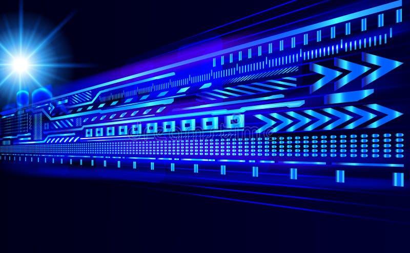 концепция Высок-техника против темной предпосылки - будущей технологии, co иллюстрация штока