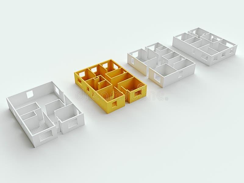 Концепция высоты плана квартиры дома 3d представляют бесплатная иллюстрация