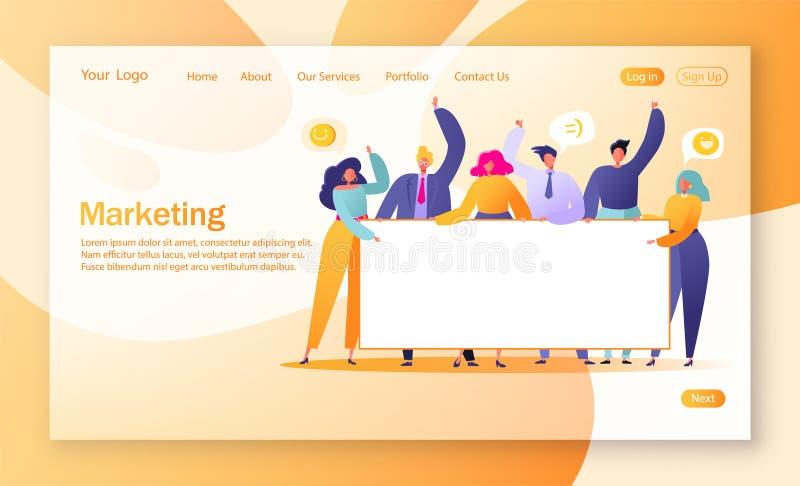 Концепция выходя на рынок страницы посадки команды Работа команды с плоскими бизнесменами характеров держа горизонтальное пустое  стоковое изображение rf