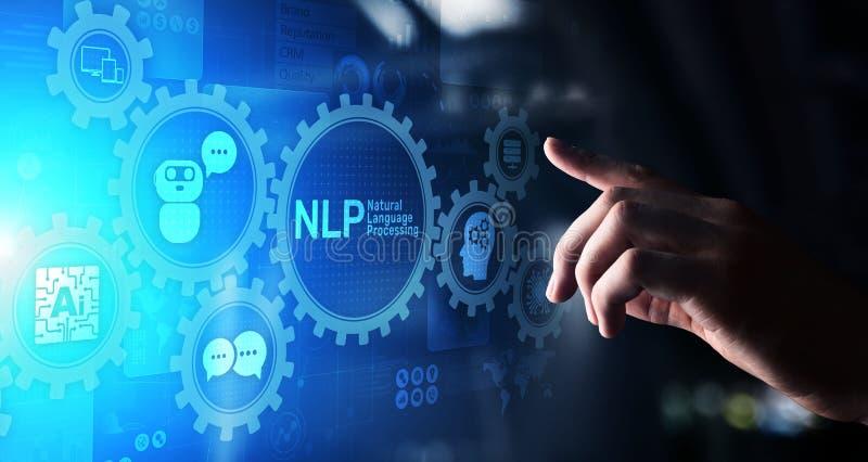 Концепция вычислительной технологии обработки родного языка NLP когнитивная на виртуальном экране стоковое изображение