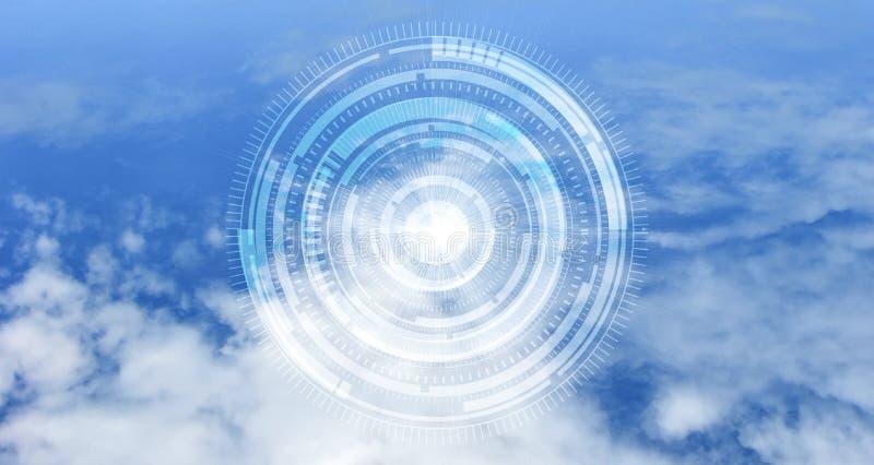 Концепция вычислительной цепи облака Защита данных Глобальная концепция безопасностью сети космоса кибер стоковое фото