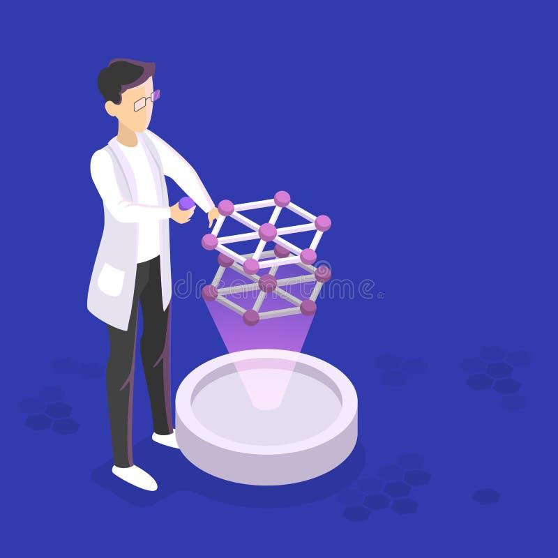 Концепция генной инженерии Эксперимент по биологии и химии бесплатная иллюстрация