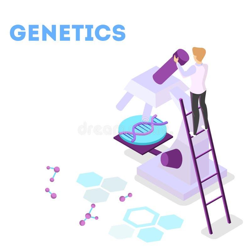 Концепция генной инженерии Эксперимент по биологии и химии иллюстрация вектора