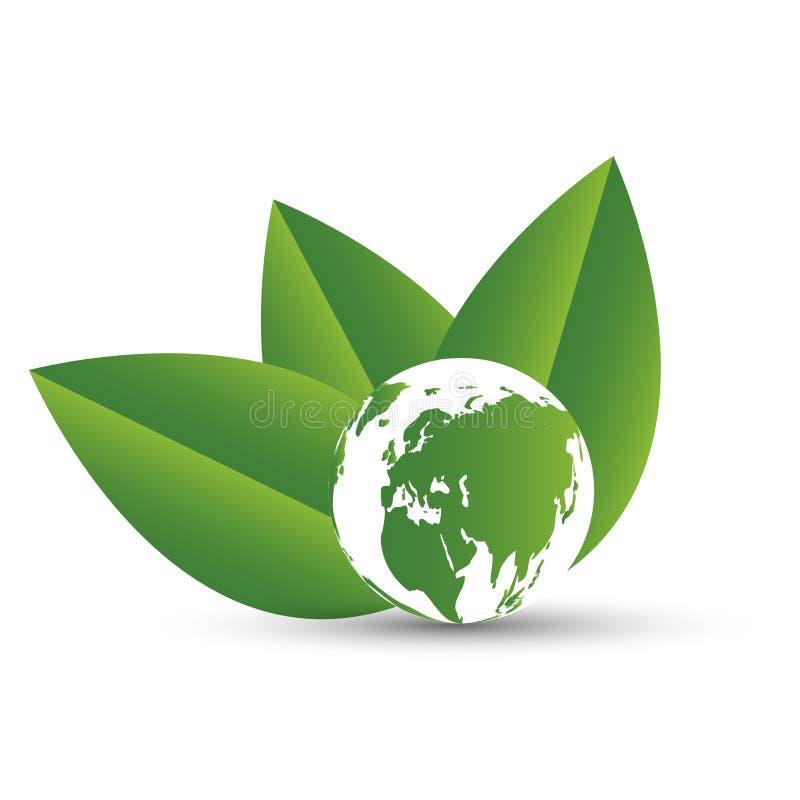 Концепция глауконита с листьями Города экологичности помогают миру с дружественными к эко идеями концепции иллюстрация штока