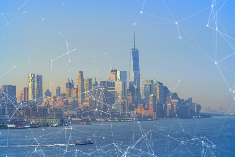 Концепция глобального бизнеса и сетевого подключения в Нью-Йорке стоковое изображение rf