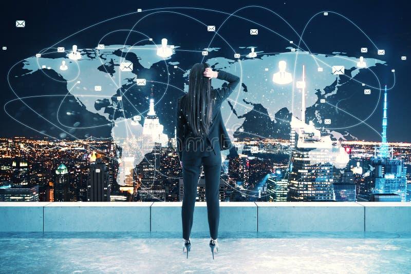 Концепция глобального бизнеса и сети стоковое фото rf