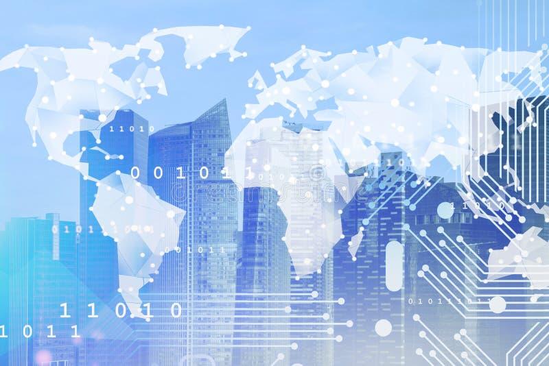 Концепция глобального бизнеса и цифровой сети иллюстрация штока