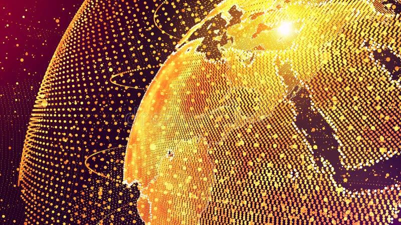 Концепция глобальной вычислительной сети искусственного интеллекта AI мира Интернет IoT вещей Сеть глобальной связи ICT иллюстрация вектора