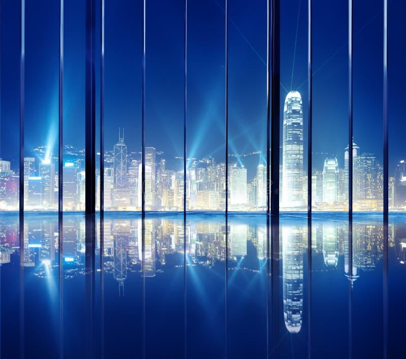 Концепция горизонта взгляда ночи города Гонконга городского пейзажа стоковые фотографии rf