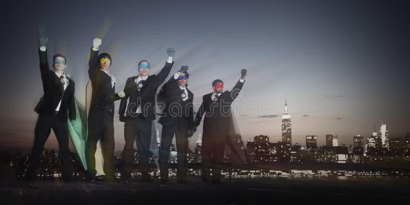 Концепция гордости воодушевленности бизнесменов супергероя стоковое фото rf
