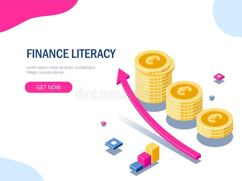 Концепция грамотности финансов равновеликая Стог евро монеток Деньги золота Стрелка роста E Вектор 3d бесплатная иллюстрация