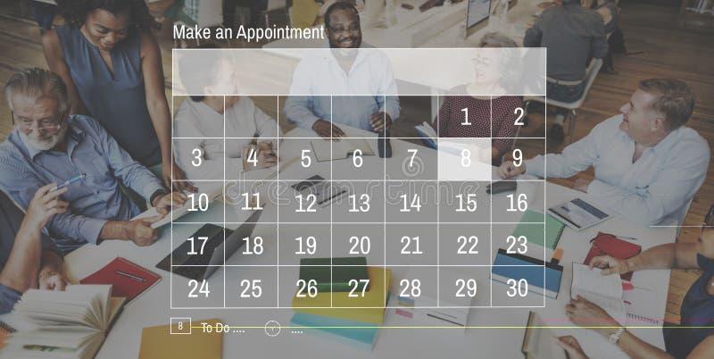 Концепция графика назначения дат календаря стоковое изображение rf