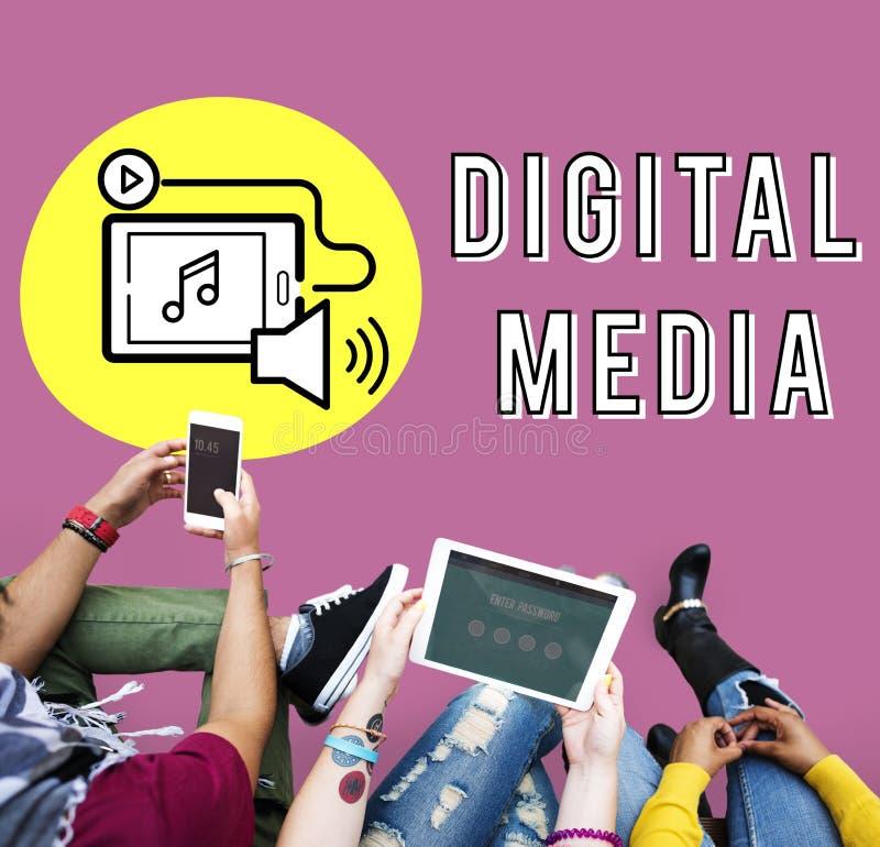 Концепция графика приборов технологии средств массовой информации цифров стоковое изображение