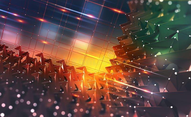 Концепция данным по раскопок Потоки информации в виртуальном пространстве Технология Blockchain Глобальная цифровая сеть будущего бесплатная иллюстрация