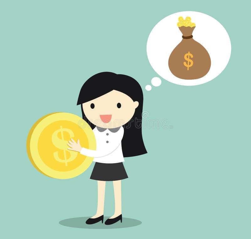 Концепция дела, бизнес-леди думает о деньгах/вкладе заработка иллюстрация штока